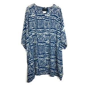 ASHRO *flawed* Printed Caftan Dress Blue XXL